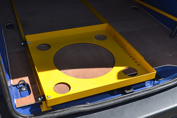 A simple and low profile track system that is permanently mounted to vehicle floor