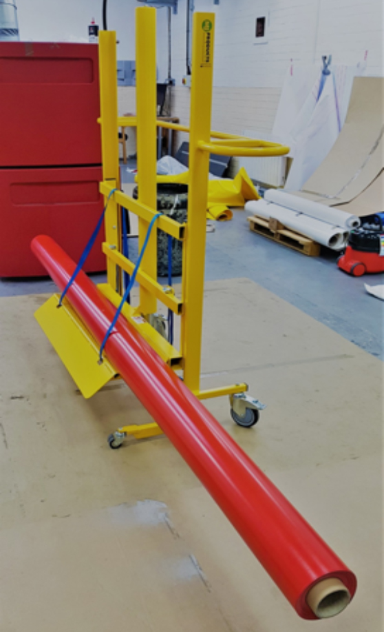 Bespoke large fabric roll handling and moving equipment