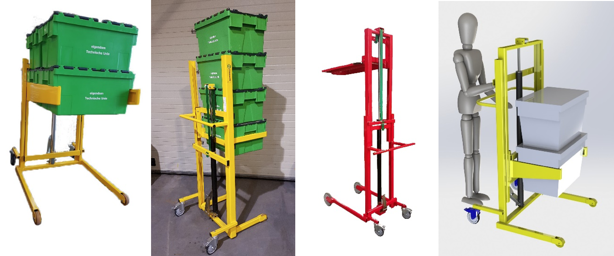 products for handling plastic totes, containers