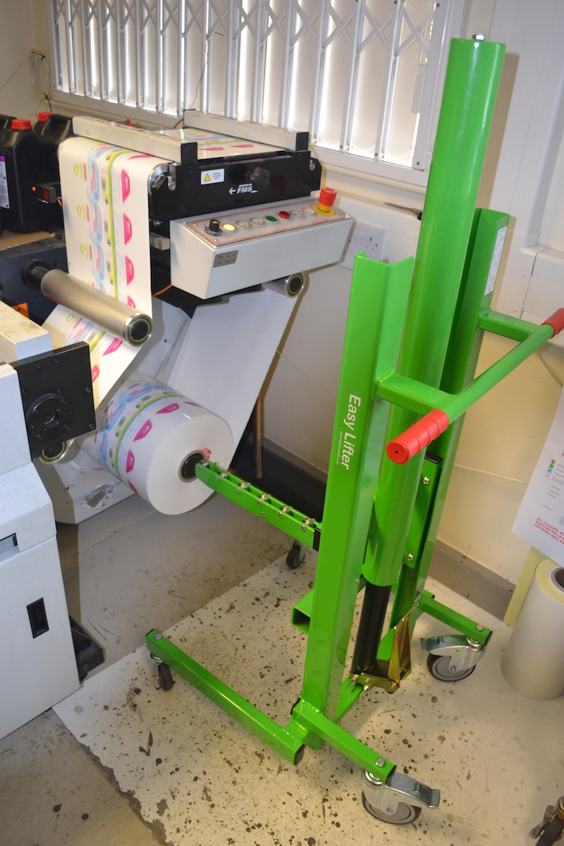 Label Roll being unloaded from printing machinery
